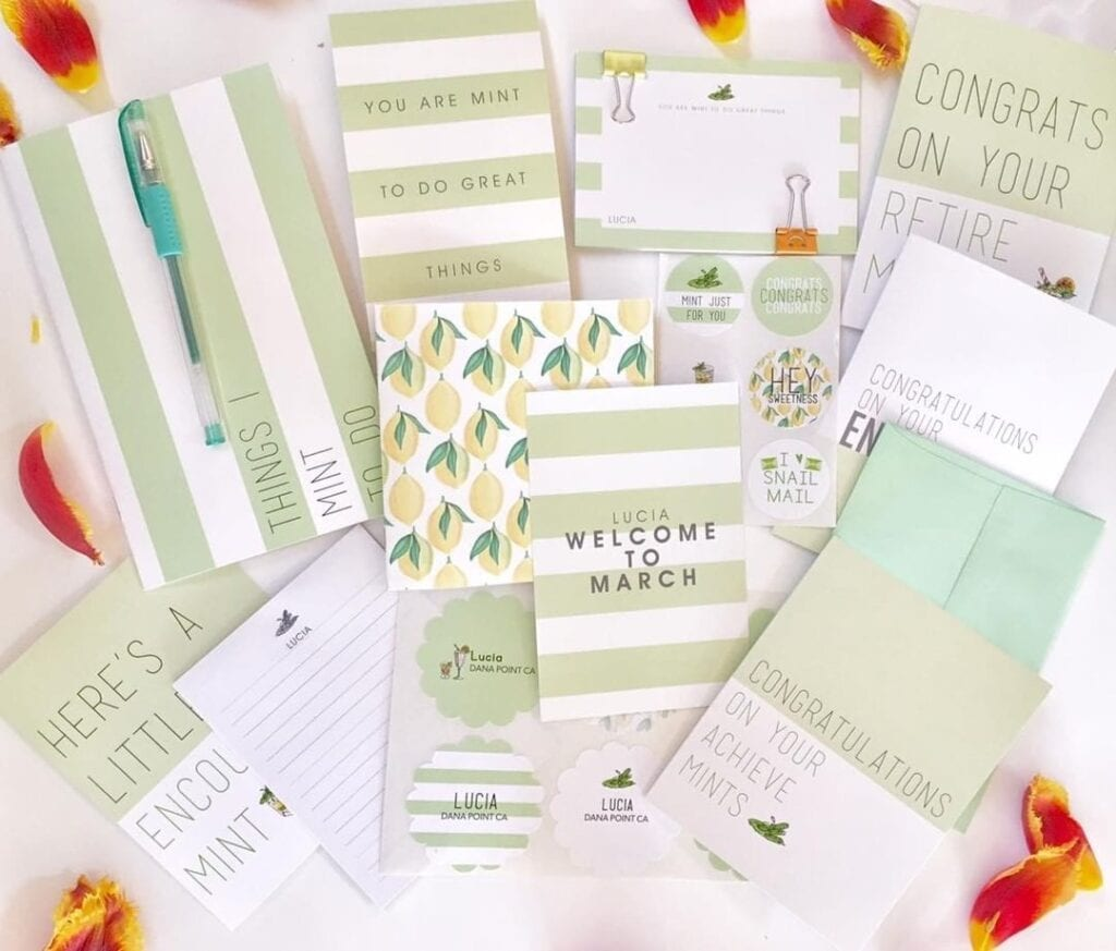 Mint themed stationery box