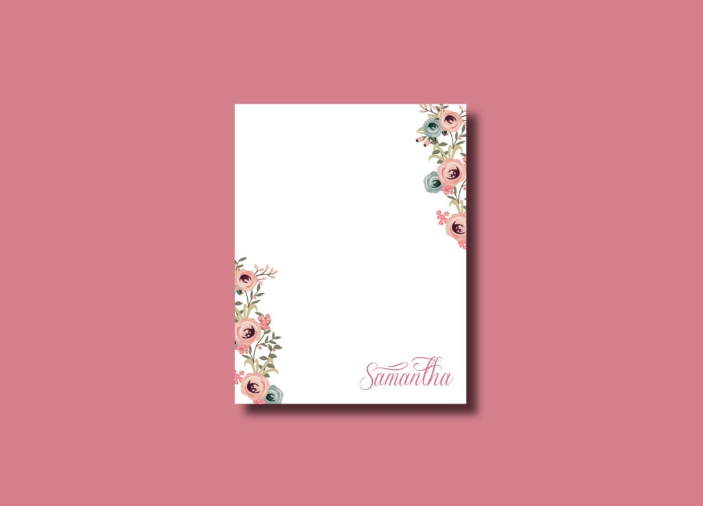 Flower Notepad with calligraphy name