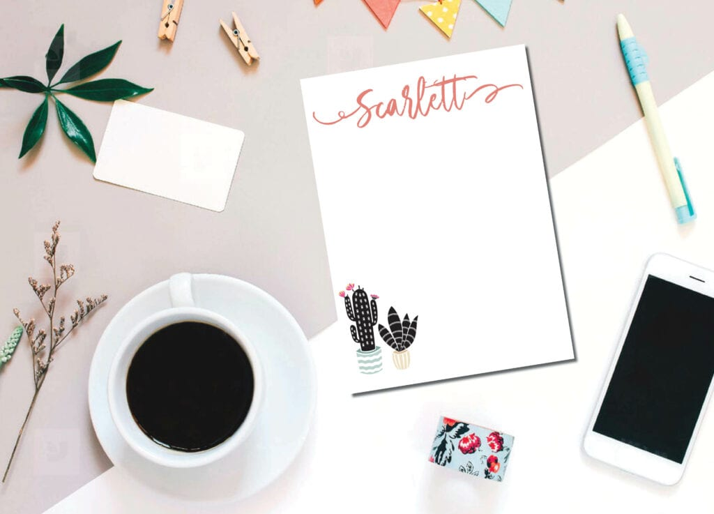 Personalized Cactus Notepad