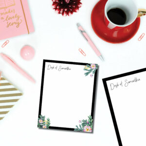 3 Custom Personalized Name Flower Border Notepad set