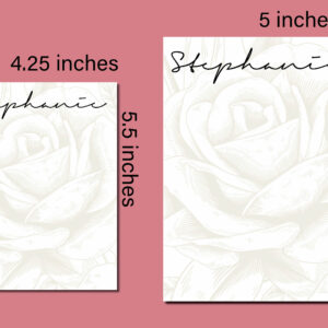 Large Rose Watermark Custom Personalized Notepad