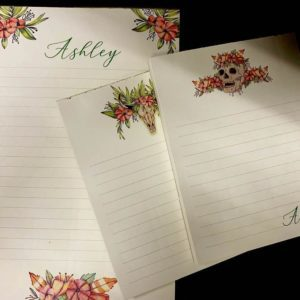 Boho Floral Personalized Notepad Stationery Set | To Do List Notepad | Memo Pad | Paper goods | Skull Notepad
