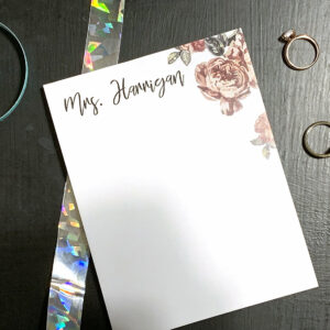 Personalized Floral Note Pad | To Do List | Notepad Teacher | Desk Organization