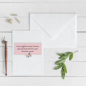 Favorite Cousin Card | Envelope Included | Card for family  | Greeting Card | Card for Cousin