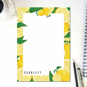 Personalized Notepad Lemon Lines | Cute School Supply | Fruit Kitchen | Teacher Notepad | to do list notepad | office supply