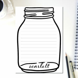 Personalized Notepad Mason Jar Lines | Cute School Supply | Country Illustration | Teacher Notepad | to do list notepad | office supply