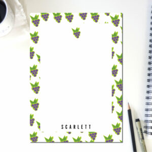 Personalized Notepad Grapes Lines | Cute School Supply | Fruit Kitchen | Teacher Notepad | to do list notepad | office supply