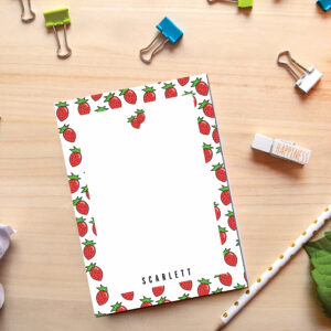 Personalized Notepad Strawberry | Cute School Supply | Fruit Kitchen | Teacher Notepad | to do list notepad | office supply