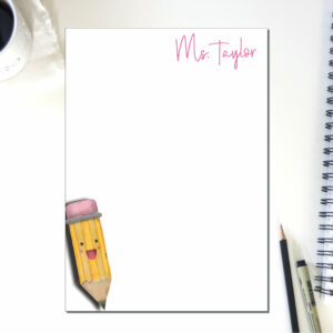 Personalized Pencil Teacher Week Note Pad | To Do List | Notepad Teacher | Desk Organization