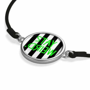 Stay Weird Black and White Striped Cord Bracelet
