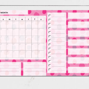 Large Monthly Planner Notepad | Corporate Gifts | Writing Pad | Paper Planner | Pink Dots