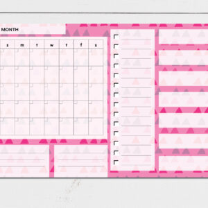 Large Monthly Planner Notepad | Corporate Gifts | Writing Pad | Paper Planner | Pink Triangle