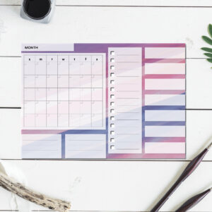 Large Monthly Planner Notepad | Corporate Gifts | Writing Pad | Paper Planner | Purple Watercolor
