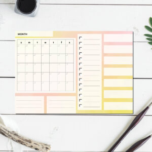 Large Monthly Planner Notepad | Corporate Gifts | Writing Pad | Paper Planner | Yellow Watercolor