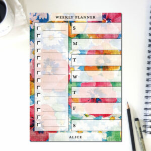 Large Weekly Planner Notepad | Corporate Gifts | Writing Pad | Paper Planner | Floral