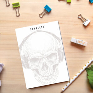 Personalized Notepad Skull | Cute School Supply | Skeleton Illustration | Teacher Notepad | to do list notepad | office supply