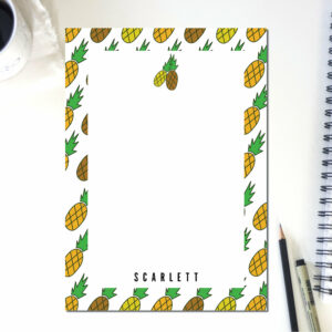 Personalized Notepad Pineapple Lines | Cute School Supply | Fruit Kitchen | Teacher Notepad | to do list notepad | office supply